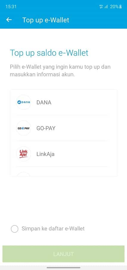 pilih e-wallet yang ingin di top up